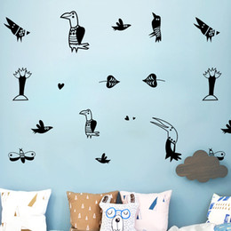 Cartoon Nature Australia - DIY Cute Creative Animal Cartoon Birds Wall Stickers Mural Wallpaper Waterproof Removable Vinyl Decal Kids Room Living Room Home Decoration