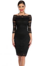 Venta al por mayor de 2018 Office Ladies Dress Party Slash Nech encaje negro festoneado fuera del hombro Midi Dress Otoño Vestido de Renda Festa Vestidos