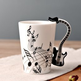 $enCountryForm.capitalKeyWord Australia - Eco-Friendly Ceramic Cup Personality Milk Juice Lemon Musical Instrument Shaped Handle Mug Coffee Tea Cup Home Office Drinkware Supplies