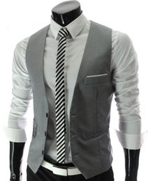 $enCountryForm.capitalKeyWord Australia - 2017 Dilet De Costume Man Suit Cotton Vests For Men Formal Waistcoat Wedding Gray Casual Dress White Blazer Black Red Business