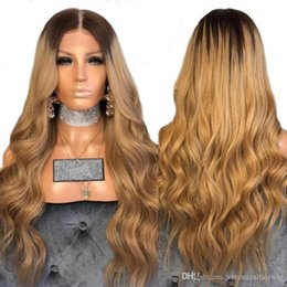 2018 black honey blonde ombre Free Shipping Sexy Glueless Honey Blonde Ombre Lace Front Wigs With Baby Hair Black Root Loose Wave Synthetic Wig For Black Women black honey blonde ombre on sale