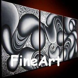 $enCountryForm.capitalKeyWord Australia - handmade oil wall art 3 piece canvas art black and white abstract art with textured inspirational quotes walll
