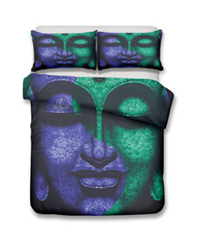 $enCountryForm.capitalKeyWord UK - 3D Purple Green Buddha Head Pattern Printed Bedding Sets All SizesPillow Case Quilt Cover Duvet Cover