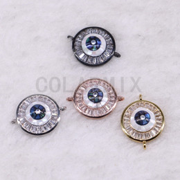 Micro Pave Connectors Australia - 10 pieces round pendants connector beads micro pave tiny crystal stone jewelry pendants finding 3541