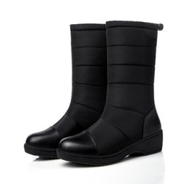 Lady Snow Boots Mid Calf Australia - Warm Women Winter Snow Boots Shoes Ladies Mid Calf Boots Patchwork Plush Down Boots Round Toe Rubber Sole ADF-2825