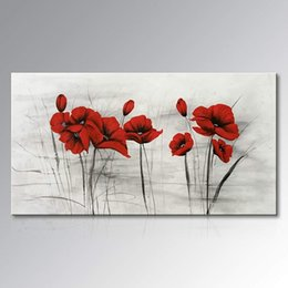 Contemporary Canvas art floral online shopping - Abstract Red Flower Oil Painting on Canvas Hand Painted Wall Art Floral Contemporary Artwork for Home Decoration