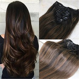 $enCountryForm.capitalKeyWord Australia - Ombre Color Remy Human Hair Bundles #1b Natural Black to #6 Medium Brown and Natural Black Clip in Human Hair Extensions 7pcs 120g