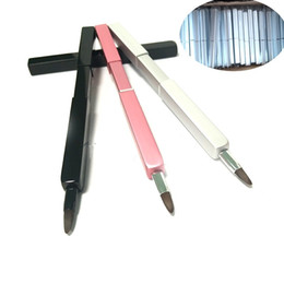 China New Fashion Disposable Brushes Retractable Lipbrush Flexible Mini Lip Brush Aluminium Outer Tube Brush Tools Travel Use cheap aluminium lip suppliers