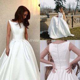 Simple Garden Wedding Gown NZ - Country Simple Wedding Dresses 2019 Jewel Sweep Train Covered Button Garden Chapel Bridal Gowns vestido de novia Plus Size
