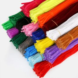 Discount chenille stems pipe - Wholesale-100pcs 30cmx5mm Chenille Stems Pipe Cleaners Children Kids Plush Educational Toy Crafts Colorful Pipe Cleaner