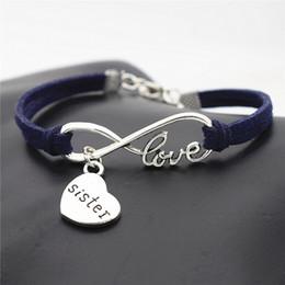 $enCountryForm.capitalKeyWord Australia - Silver Infinity Love Bracelet & Bangles with Mom Sister Daughter Pendant Charm Dark Navy Leather Suede Strand Cuff DIY Jewelry for Women Men