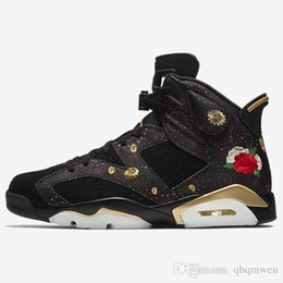 best service 96890 046c1 2018 HOT 6 CNY BASKET-BALL CHAUSSURES HOMME CHINOIS NOUVELLE BRODERIE  FLORALE EXQUIS METALLIC GOLD-MULTI NOIR BIG BOY SNEAKERS