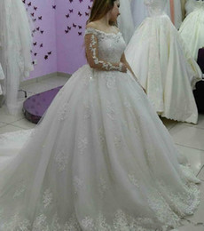 puffy winter wedding dresses NZ - 2020 Modest Country Wedding Dresses Ball Gown boat Neck Long Sleeve Puffy Tutu Cheap Simple arabic Bridal Garden plus size Wedding Gowns