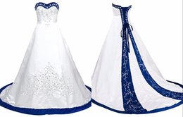 Chinese  Royal Blue And White Wedding Dress Embroidery Princess Satin A line Lace up Back Court Train Sequins Beaded Long Cheap Wedding Gowns manufacturers