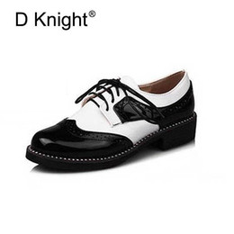 flat oxfords new style women 2019 - Fashion England Style Color Block Oxfords For Women New Ladies Casual Lace Up Brogue Oxford Shoes Women Flat Shoes Size