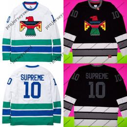 6ebb48916 SUPREME10 Hockey Jersey Thunderbird Pullover Black White Shirt Box Logo  Bird 100% Stitched Embroidery Logos Hockey Jerseys Fast Shipping