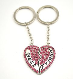 Wholesale Best Friends Broken Heart Keychain BFF Keyring Rhinestone Key Holder For Friendship Sisterhood Women s Fashion Jewelry