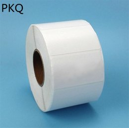 Discount thermal sticker paper - 1000pcs Roll Single row Blank white sticker label Adhesive Thermal Machine Description Label Paper Writing name lable st