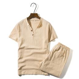 Men White Linen Casual Suits Australia - 2018 New Men's Linen Sets Short Sleeve Summer Brand Vintage Fit Slim V Neck Casual Linen Suits For Men Fit Slim M~5xl BFM31