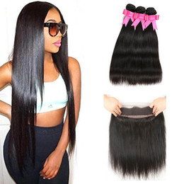weave vendors Australia - Straight Brazilian Virgin Hair 3 Bundles With 360 Lace Frontal Unprocessed Brazilian Human Hair Vendors Weave Best Quality Hair Extensions