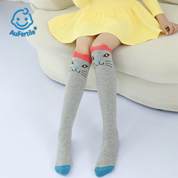305d886dc8df0 Cute Long Tube Children Socks Spring and Autumn Cartoon Animal face Girls  Straight Socks Lovely with Skirt Cotton