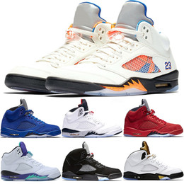 grapes shoes UK - Designer 5 5s Men Basketball Shoes International Flight OG Metallic Black Blue Red Suede White Cement Grape Cheap Sport Sneakers Size 41-47