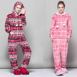 Discount red bird costume - Women's new flannel casual printed jumpsuit homewear Christmas costumes snowflake red bird slim jumpsuit warm Siame