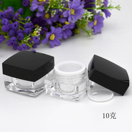 Lip Polish Australia - 5G 10G Empty Sample Cream Pot Jar Nail Polish Beauty Face Care Eyes Lips Powder Case Cosmetic Container with Black Lid 20pcs
