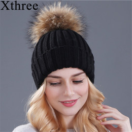 Xthree mink and fox fur ball cap pom poms winter hat for women girl  s hat  knitted beanies cap brand new thick female cap S1020 4788af92e155