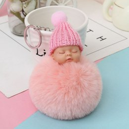 $enCountryForm.capitalKeyWord Canada - Bowknot Sleeping Doll Rabbit Fur Hair Ball Key Chains Charm Car Keychain Handbag Couple Key Ring Pendant Gifts Bijoux Accessories new