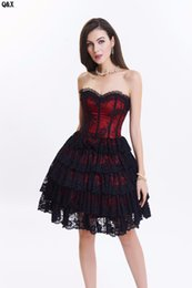 $enCountryForm.capitalKeyWord UK - WK68 2017 New Fashion Women Lace Up Back Corsets Dress With Lace Petticoat Skirt Flower Overbust Bustier Layers Costumes