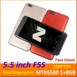 pink mp3 8gb screen NZ - 5.5 inch 3G Smart Cell phone Android 7.0 MTK6580 Quad Core 1G 8GB Mobile Dual SIM Camera WCDMA unlocked Fingerprint Face Unlock Smartphone