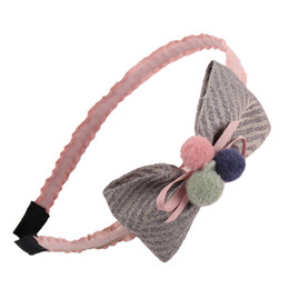 korean hair for kid UK - Korean Cute Pompom Hairband Striped Bows Princess Hairhoop For Kids Girls Boutique Headwear Hair Accessories