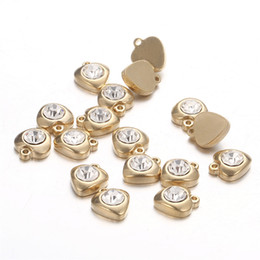 wholesale gold plated jewelry findings UK - Wholesale Handmade Gold Color Stainless Steel Crystal LOVE Heart Charms For Jewelry Making Finding DIY Component Heart Pendant Accessories