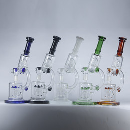 Wholesale Microscope Oil Rigs Double Recycler with Rocket Perc and UFO Perc Thick Glass Water Pipes Bongs quot inch Hookahs Beaker Pipes mm Joint