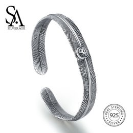 $enCountryForm.capitalKeyWord Canada - Valentine Gift SA SILVERAGE 925 Sterling Silver Vintage Feather Cuff Bangle Bracelet For Women Fine Jewelry 2018 New ArrivalY1882903