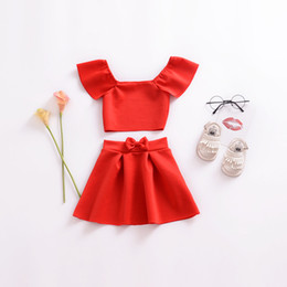 cf96ae875f74 ins Baby Girls Dance Clothes Red Tops TUTU Skirt 2pcs Sets Boat Neck  Strapless Tees For Kids Spring Autumn Christmas Clothing Factory B93
