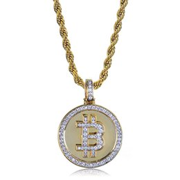 coin links UK - Hot Selling Hiphop Gold Plated Bitcoin Pendant Necklace Paved Micro Cubic Zirconia Necklaces With Rope Chian Bling Rapper Jewelry