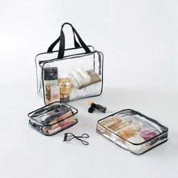 ecaf17c4aec0 3 Set Transparent Women Travel Cosmetic Bags PVC Clear Makeup Bags  Organizer Beauty Case Toiletry Bag Bath Wash Make Up Case