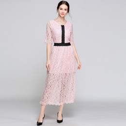 Fashion Trends Lace Dress Australia - Fashion Trends Spring and Autumn Women's Lace Dress,Nice Panelled Long Skirts Lady,Half Sleeve,Crew Neck