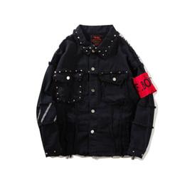 Black rivet jackets men online shopping - 2018 Fashion Mens Denim Jackets Rivets Decorated Embroidered Patches Black Jean Jacket Arm Bandage Homme Streetwear