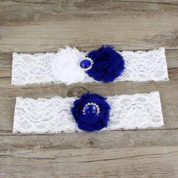 2 шт. Набор королевский синий шифон цветы подвязки невесты выпускной подвязки свадебные подвязки из искусственного жемчуга свободный размер 17-21 дюймов
