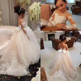 Birthday dresses for girls online shopping - Long Sleeves Flower Girls Dresses for Weddings With Lace Appliques Beads Bow Sheer Neckline Girl Pageant Dress Birthday Kids Communion Dress