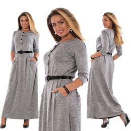Big plus size clothes online shopping - O Neck xl Robe Autumn Winter Dress Big Size Elegant Long Sleeve Maxi Dress Women Office Work Dresses Plus Size Women Clothing