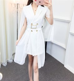 Poncho Dresses NZ - 2018 New fashion women's design poncho cloak style double breasted chiffon patchwork blazer suit dress sashes with belt vestidos