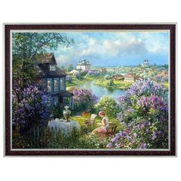 Cross Stitch Wall Painting NZ - 14ct the painting of living room diy counted cross stitch reading in countryside small town Bedroom decorative painting wall art