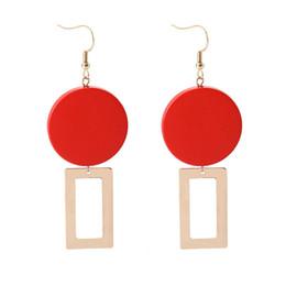 Number Blocks Australia - Street fashion ladies Earrings wholesale jewelry Temperament Restore Ancient Ways Red Wood Block Geometry Personality european style