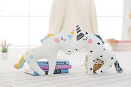 Discount wholesale knitted toys - Cute Unicorn Horn Sleep Pillow Baby Kids Plush Toy Sofa Car Cushion Decorative Pillow Children Plush Doll