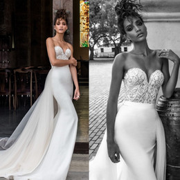 China Julie Vino 2018 Mermaid Overskirts Boho Wedding Dresses Sweetheart Lace Appliqued Backless Satin Bridal Gowns vestido de novia supplier julie vino sweetheart wedding suppliers