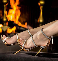 $enCountryForm.capitalKeyWord Australia - 2018 Sexy gold high heels open toe ankle strap heels sandals beautiful women pumps stilettos sparkle rhinestone pumps shoes lady